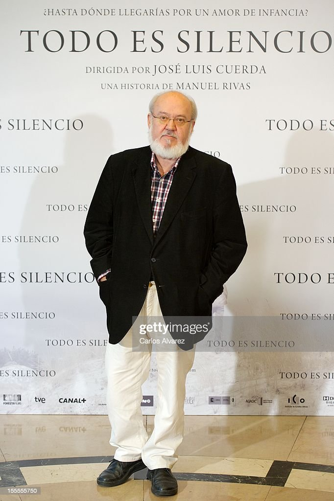 Spanish director Jose Luis Cuerda attends the 'Todo es Silencio' photocall at the Palafox cinema on November 5, 2012 in Madrid, Spain.