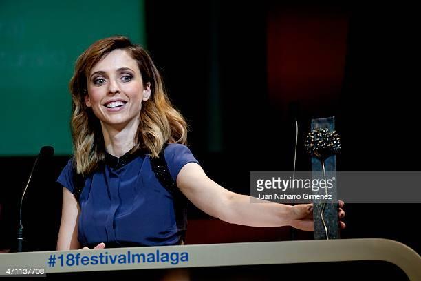 Spanish director Leticia Dolera receives Biznaga de Plata Mejor Guionista Novel during the 18th Malaga Spanish Film Festival at the Cervantes Theater...