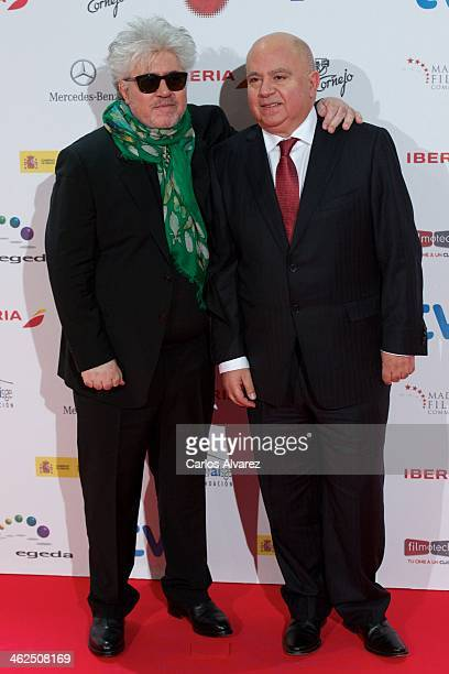 Spanish director Pedro Almodovar and Spanish producer Agustin Almodovar attend the Jose Maria Forque awards 2013 at the Palacio Municipal de...