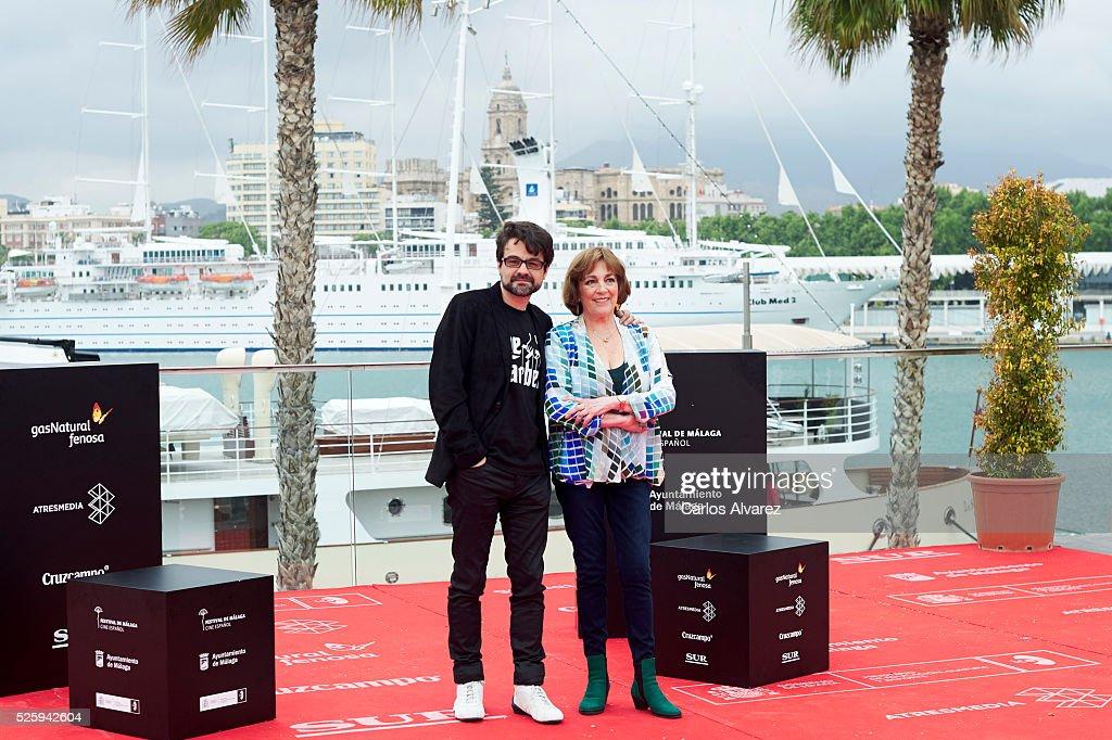 Spanish director Pedro Barbero and actress <a gi-track='captionPersonalityLinkClicked' href=/galleries/search?phrase=Carmen+Maura&family=editorial&specificpeople=577903 ng-click='$event.stopPropagation()'>Carmen Maura</a> attend 'El Futuro Ya No Es Lo Que Era' photocall during the Malaga Film Festival on April 29, 2016 in Malaga, .