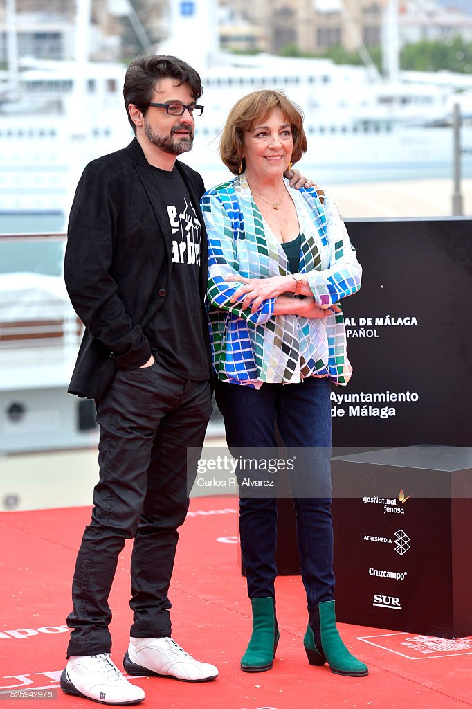 Spanish director Pedro Barbero and actress <a gi-track='captionPersonalityLinkClicked' href=/galleries/search?phrase=Carmen+Maura&family=editorial&specificpeople=577903 ng-click='$event.stopPropagation()'>Carmen Maura</a> attend 'El Futuro Ya No Es Lo Que Era' photocall during the Malaga Film Festival on April 29, 2016 in Malaga, .