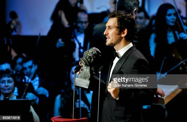 Spanish director Raul Arevalo receives the award for Best Upcoming Editing Award for his film Tarde para la ira during the 30th edition of the 'Goya...