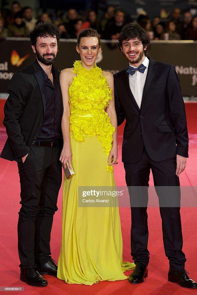 Spanish director Rodrigo Sorogoyen (L), Spanish actress Aura Garrido (C) and Spanish actor Javier Pereira (R) attend the 'Feroz' cinema awards 2014 at the Callao cinema on January 27, 2014 in Madrid, Spain.