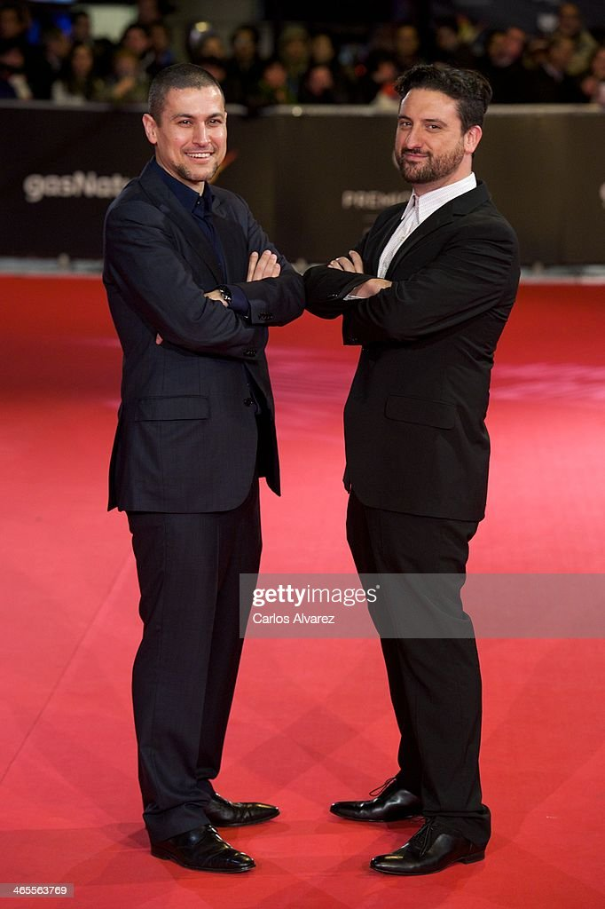 Spanish directors Rodrigo Cortes (L) and <a gi-track='captionPersonalityLinkClicked' href=/galleries/search?phrase=Eugenio+Mira&family=editorial&specificpeople=6740820 ng-click='$event.stopPropagation()'>Eugenio Mira</a> (R) attend the 'Feroz' cinema awards 2014 at the Callao cinema on January 27, 2014 in Madrid, Spain.