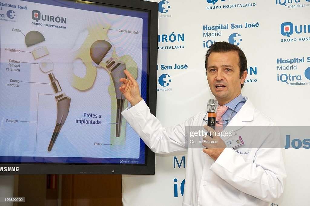 Spanish doctor Angel Villamor attends a press conference following a hip operation performed on King Juan Carlos of Spain at the USP San Jose Hospital on November 24, 2012 in Madrid, Spain.