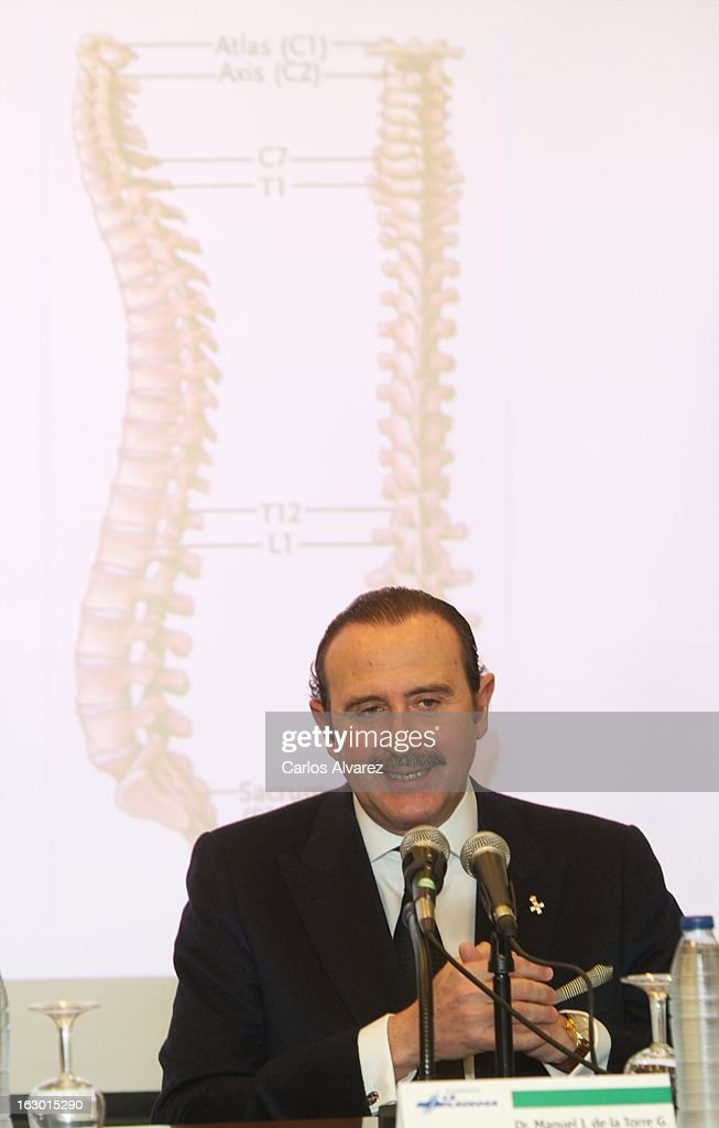 Spanish doctor Manuel de la Torre attends a press conference following a lower back disc hernia operation performed on King Juan Carlos of Spain at the La Milagrosa Hospital on March 3, 2013 in Madrid, Spain. King Juan Carlos of Spain goes under surgery for a lower back disc hernia at La Milagrosa Hospital on March 3, 2013 in Madrid, Spain. He had hip surgery last November. The King has had several other health issues in the past two years, including knee surgery and the removal of a benign lung tumor.