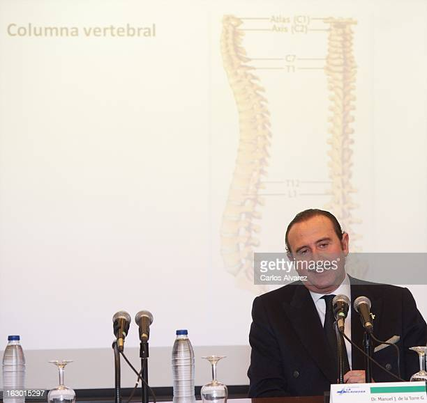 Spanish doctor Manuel de la Torre attends a press conference following a lower back disc hernia operation performed on King Juan Carlos of Spain at...