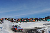 TOPSHOT Spanish driver Dani Sordo steers his Hyundai I 20 during the ES 10 of the third stage of the 84th Monte Carlo Rally between...