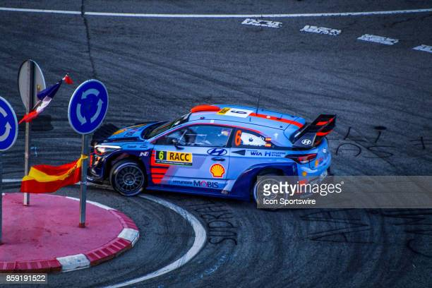 Spanish driver of Dani Sordo and codriver Marc Marti of Hyundai Motorsport early morning run on the Riudecanyes Stage of the Rally de Espana round of...
