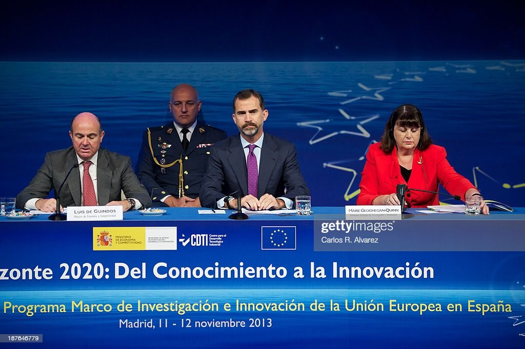 Spanish Economy Minister <a gi-track='captionPersonalityLinkClicked' href=/galleries/search?phrase=Luis+de+Guindos&family=editorial&specificpeople=8756055 ng-click='$event.stopPropagation()'>Luis de Guindos</a>, Prince Felipe of Spain and EU commissioner for Research, Innovation and Science <a gi-track='captionPersonalityLinkClicked' href=/galleries/search?phrase=Maire+Geoghegan-Quinn&family=editorial&specificpeople=6730937 ng-click='$event.stopPropagation()'>Maire Geoghegan-Quinn</a> attend the opening of the '7th Conference Program For Research And Innovation Framework Of The European Union. Horizon 2020 Knowledge To Innovation' at the Auditorium Hotel on November 11, 2013 in Madrid, Spain.