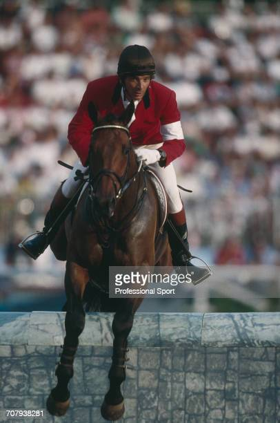 Spanish equestrian Luis Alvarez of the Spain team pictured on his horse Mr Chrisalis during competition to finish in 7th place in the Mixed ThreeDay...