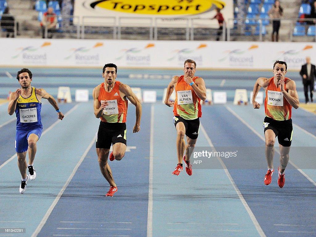 Spanish Eusebio Caceres, Ukranian Oleksiy Kasyanov, Belgian Hans Van Alphen and Bulgarian Eduard Mikhan compete in the men's 60m sprint at the Flanders Indoor IAAF Athletics Meeting, on February 10, 2013, in Gent. AFP PHOTO/BELGA/ JASPER JACOBS -Belgium Out-
