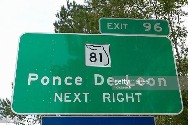 Spanish Explorer and road sign for Ponce De Leon road sign