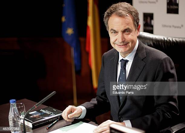 Spanish expresident Jose Luis Rodriguez Zapatero attends the presentation of his book 'El dilema' at Casa de America on November 26 2013 in Madrid...