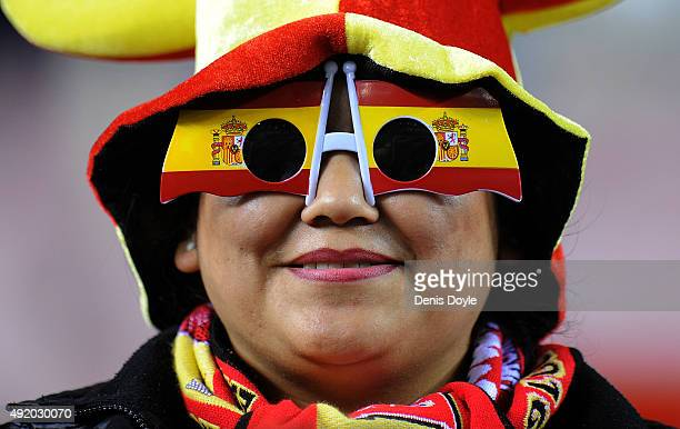 Spanish fan looks on at the end of the UEFA EURO 2016 Qualifier group C match between Spain and Luxembourg at Estadio Municipal Las Gaunas on October...