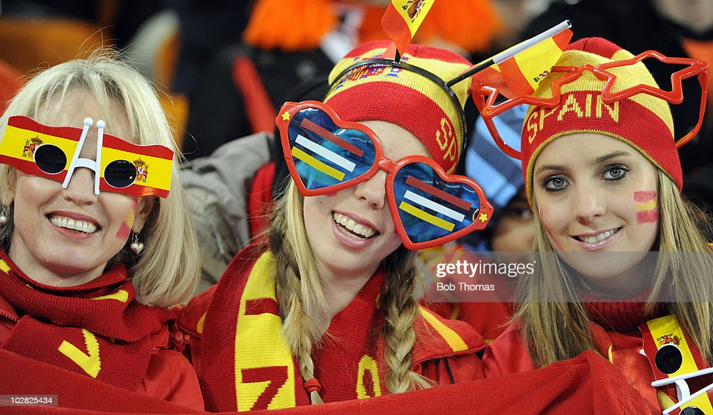 Spanish fans before the start of the 2010 FIFA World Cup Final between the Netherlands and Spain on July 11, 2010 in Johannesburg, South Africa. Spain won the match 1-0.