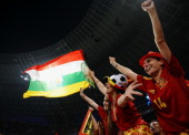 Spanish fans cheer ahead of the UEFA EURO 2012 quarter final match between Spain and France at Donbass Arena on June 23 2012 in Donetsk Ukraine