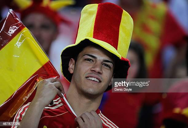 Spanish fans cheers on his team during the Spain v Ukraine EURO 2016 Qualifier at estadio Ramon Sanchez Pizjuan stadium on March 27 2015 in Seville...