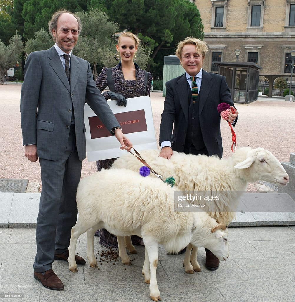 Spanish fashion designers Jose Victor Caro (R) and Jose Luis Medina (L) inaugurate the Wool Week 2012 at Plaza de Colon on November 21, 2012 in Madrid, Spain.