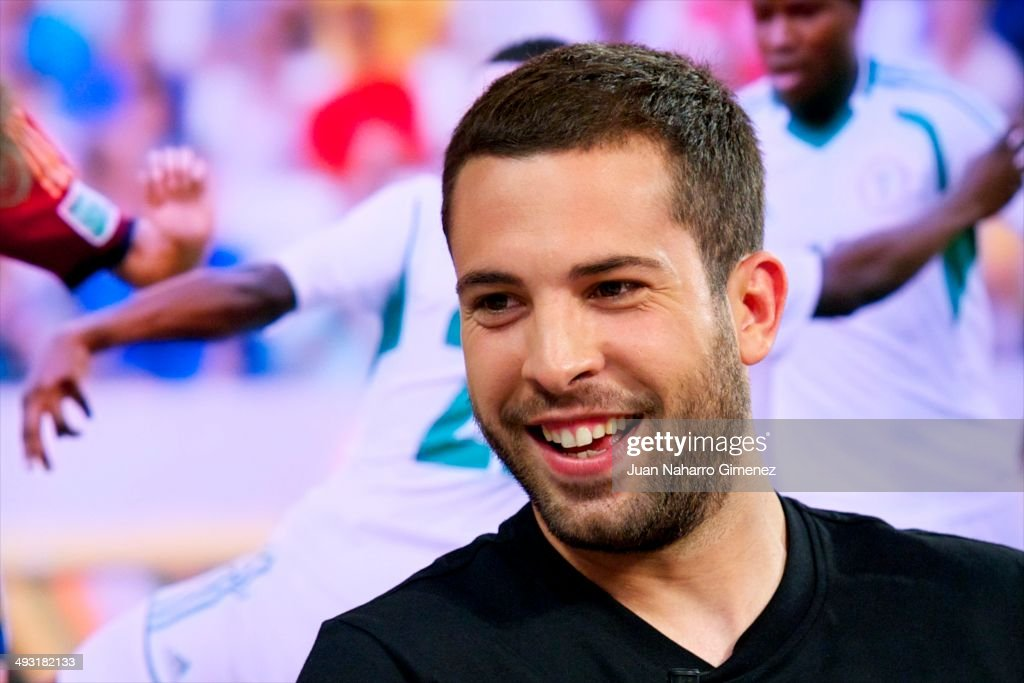 Spanish FC Barcelona player <a gi-track='captionPersonalityLinkClicked' href=/galleries/search?phrase=Jordi+Alba&family=editorial&specificpeople=5437949 ng-click='$event.stopPropagation()'>Jordi Alba</a> attends 'El Hormiguero' Tv show at Vertice Studio on May 22, 2014 in Madrid, Spain.
