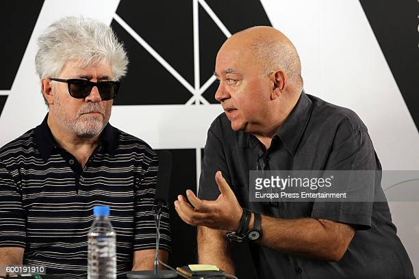 Spanish film director Pedro Almodovar and his brother Agustin Almodovar pose after his film 'Julieta' has been elected by the Spanish Film Academy to...
