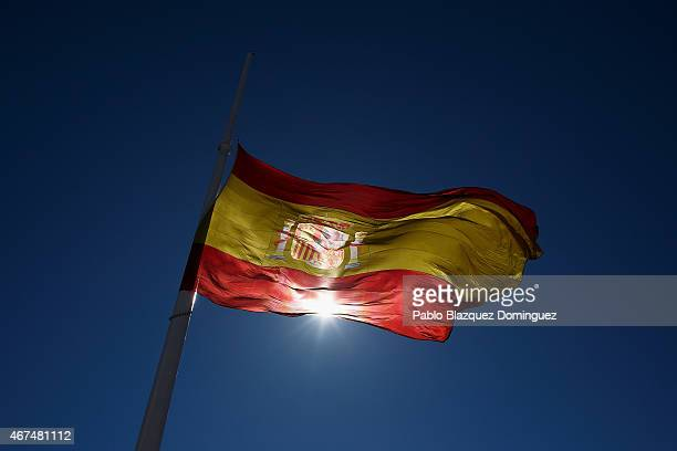 Spanish flag flies at halfmast in memory of the victims of the crash of an Airbus A320 airplane flying from Barcelona to Duesseldorf at Colon Square...