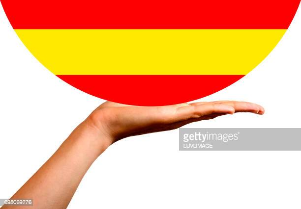 Spanish Flag in a hemisphere, on the palm of a hand.