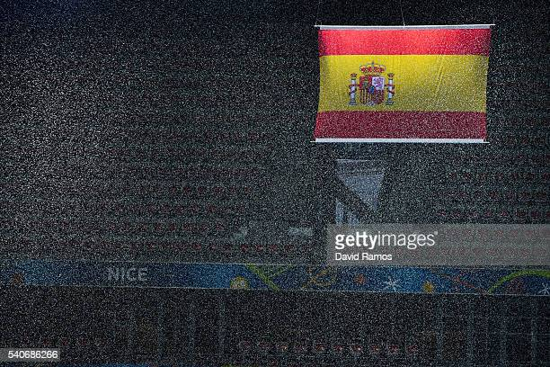 Spanish flag on display during a training session ahead of the UEFA Euro 2016 Group D match between Spain and Turkey at Allianz Riviera Stadium on...