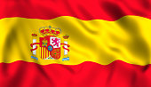 Spanish flag waving in the wind symbol of spain