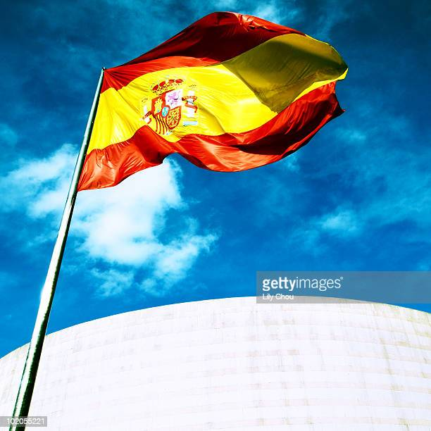 Spanish flag with blue sky