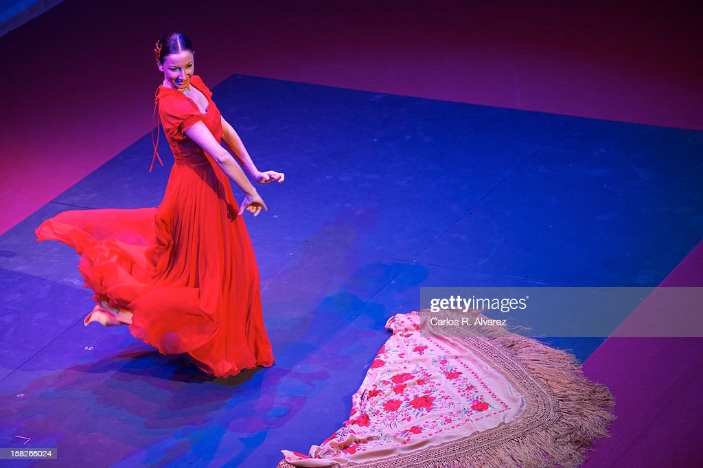 Spanish Flamenco dancer Cecilia Gomez performs on stage during the Spanish Olympic Commitee Centenary Gala at El Canal theater on December 12, 2012 in Madrid, Spain.