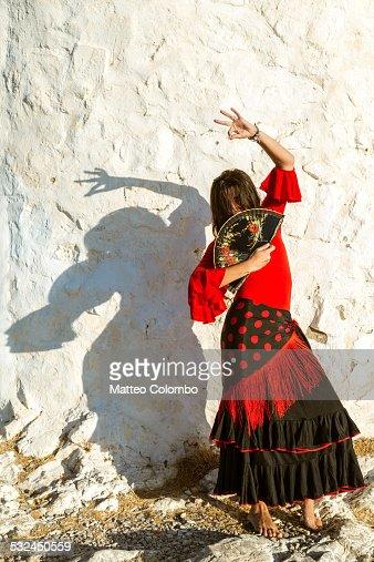 Spanish flamenco dancer performing outdoors