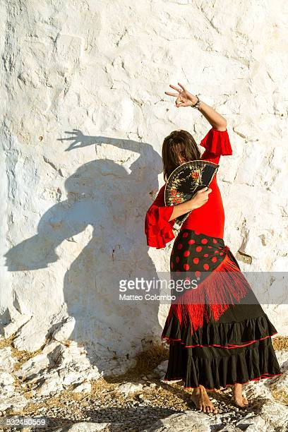 Spanish flamenco dancer performing outdoors