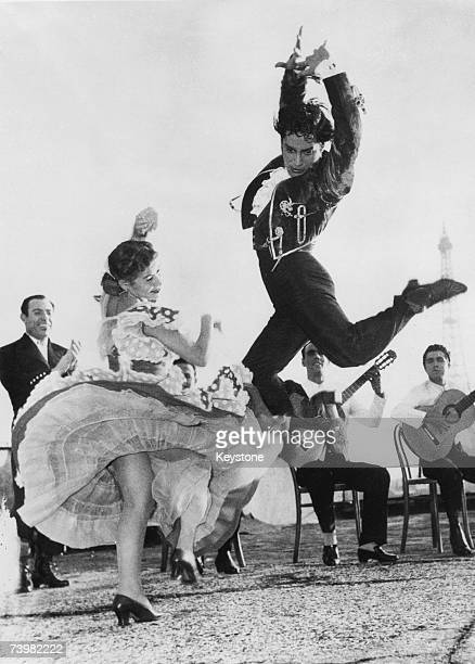 Spanish flamenco dancers Rosario and Antonio rehearse on the terrace of the Champs Elysees Theatre in Paris before a show 26th September 1951