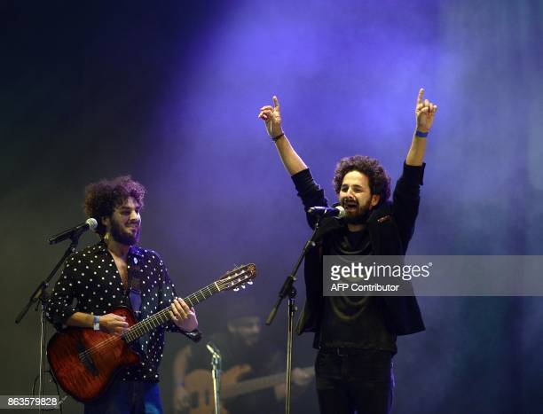 Spanish flamenco guitarist and singer Lin Cortes performs with flamenco singer Nany Cortes during the 'Breaking the Silence' benefit concert to help...