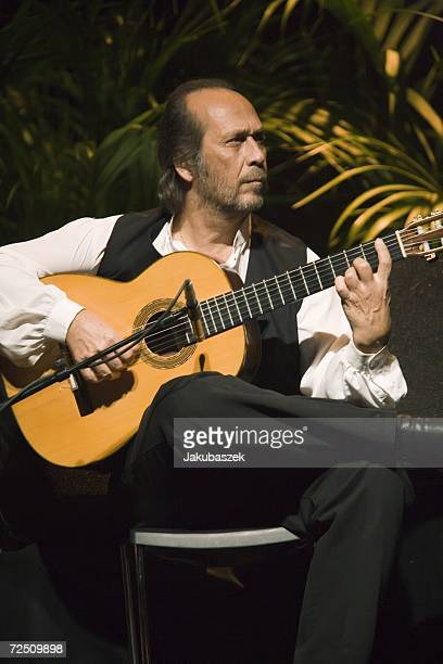 Spanish flamenco guitarist Paco de Lucia performs live during a concert at the Tempodrom November 11 2006 in Berlin Germany The concert was part of a...
