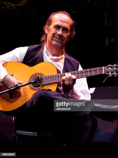 Spanish flamenco guitarist Paco de Lucia performs live during a concert at the Tempodrom on February 18 2010 in Berlin Germany The concert is part of...