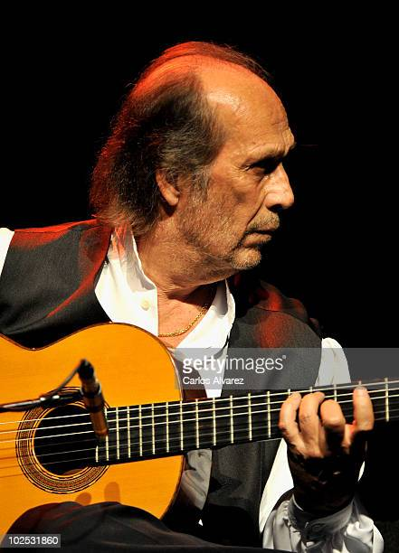 Spanish flamenco guitarist Paco de Lucia performs on stage on June 29 2010 in Madrid Spain