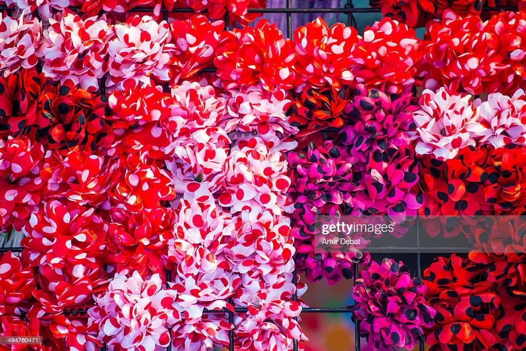 Spanish flamenco hair flowers in Feria de Abril