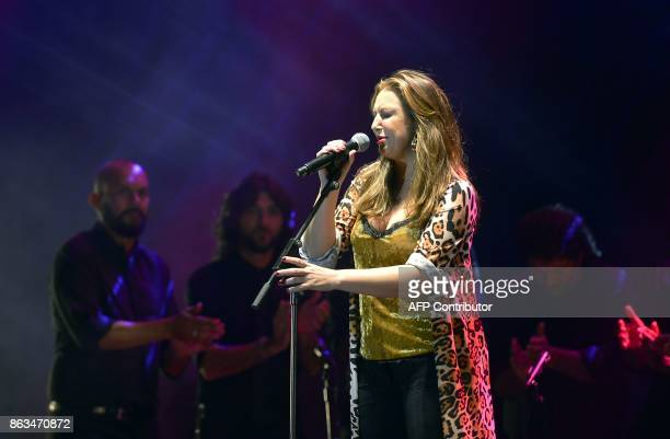 Spanish flamenco singer Nina Pastori performs during the 'Breaking the Silence' benefit concert to help flamenco singer Remedios Amaya at the Rocio...
