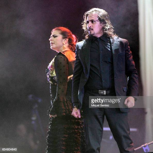 Spanish flamenco's dancer Farru performs on stage during the 'Gran Concert de les Persones Refugiades' 'Big Concert for Refugee People' at the Palau...