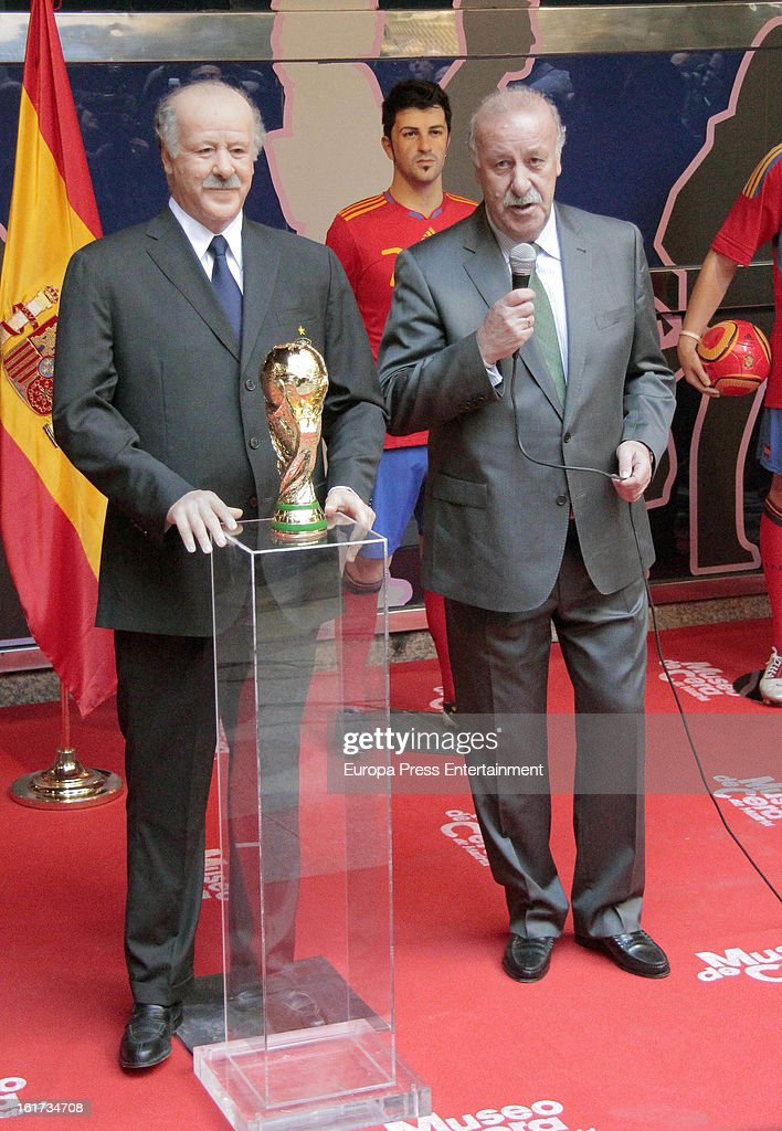 Spanish football coach Vicente del Bosque attends the unveiling of his wax figure on February 14, 2013 in Madrid, Spain.