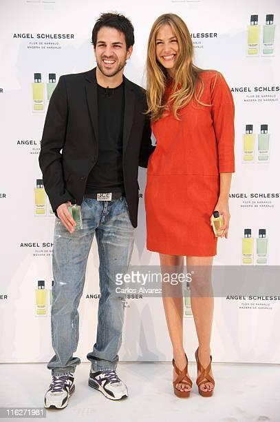 Spanish football player Cesc Fabregas and model Martina Klein present new 'Angel Schlesser' fragance at 'Estudio Milk' on June 15 2011 in Madrid Spain