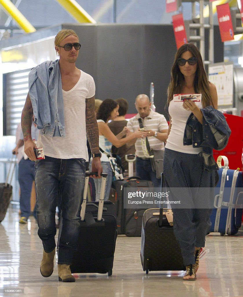 Spanish football player Guti and his pregnant girlfriend Romina Belluscio are seen on August 23 2012 in Madrid Spain