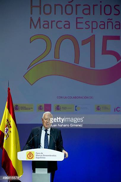 Spanish Foreign Minister Jose Manuel GonzalezMargallo attends a meeting with ambassadors of the Spanish Brand at Auditorio Ciudad BBVA on November 12...
