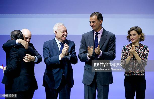Spanish Foreign Minister Jose Manuel GonzalezMargallo King Felipe VI of Spain and Queen Letizia of Spain attend a meeting with ambassadors of the...