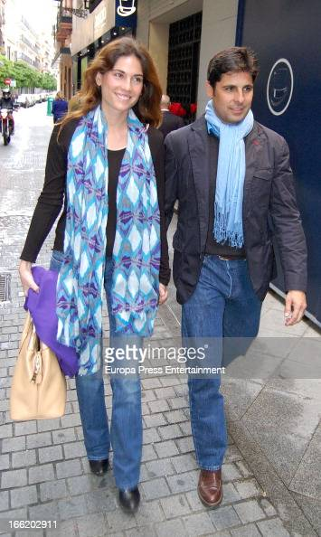 Spanish former bullfighter Francisco Rivera and his gilfriend Lourdes Montes attend a bullfighting conference on April 9 2013 in Seville Spain