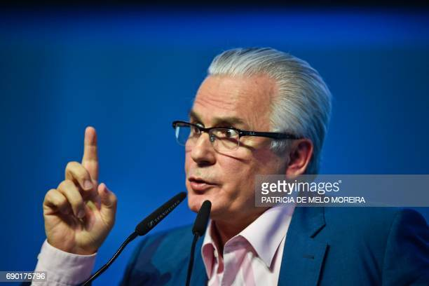 Spanish former judge and head of Julian Assange's defense Baltasar Garzon delivers a speech before the debate at the 'Estoril Conferences Global...