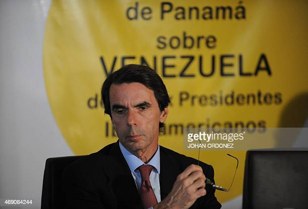 Spanish former President Jose Maria Aznar attends a press conference about the situation of Venezuela's President Nicolas Maduro opposers Leopoldo...