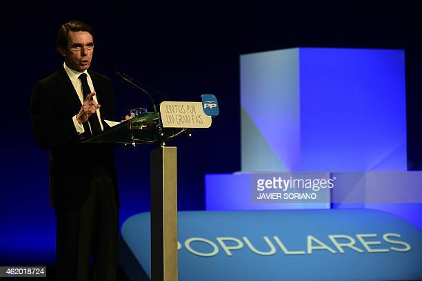 Spanish former Prime Minister and Popular Party honorary president Jose Maria Aznar speaksduring the annual national convention of the Popular Party...